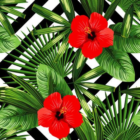 hojas de plantas exóticas de la selva tropical de la palma de impresión de verano y flor de hibisco rojo