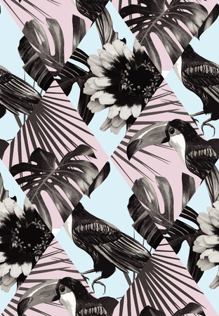 Fashion black white tropic exotic patchwork of toucan bird and plant Monstera, palm banana leaves.