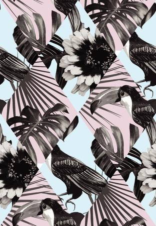 Mode zwart wit tropisch exotisch lappendeken van toekanvogel en plant Monstera, palmbananenbladeren.