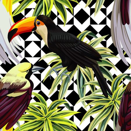 Floral tropic jungle plants with fashion birds toucan and parrot with green leaves.