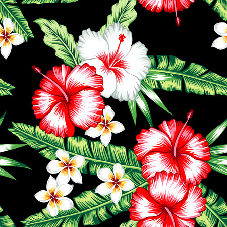 Tropic summer floral hibiscus and plumeria seamless pattern with palm banana leaf and plants.