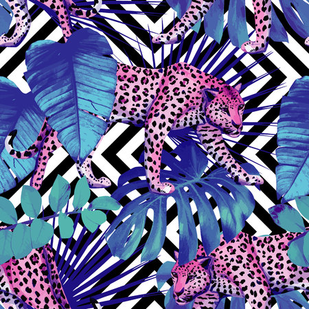 Tropical summer floral with exotic animals leopard and tropic plants and leaves hand drawn watercolor trendy blue style.