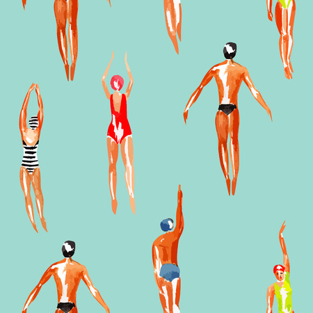 Watercolor swimmer men and women engaged in sports swimming in the marine tropical harbor.