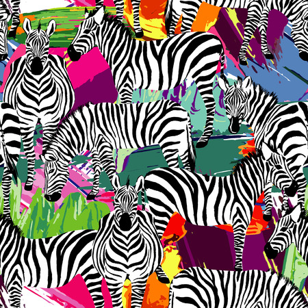 화려한 페인팅 손으로 그려진 된 배경에 정글에서 흑인과 백인 얼룩말 트로픽 동물의 조성.