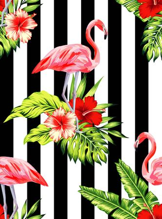 Tropic summer hibiscus seamless pattern with palm banana leaf and plants.