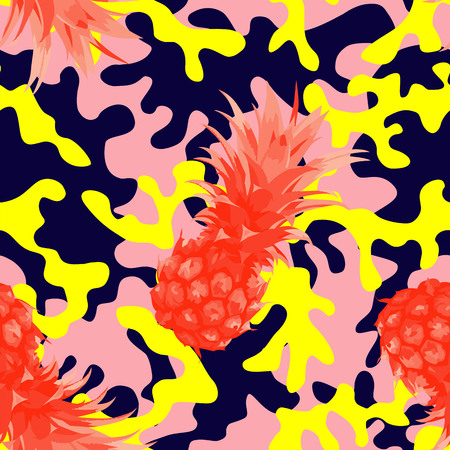 Trendy camo military urban seamless pattern with tropical fruit pineapple.