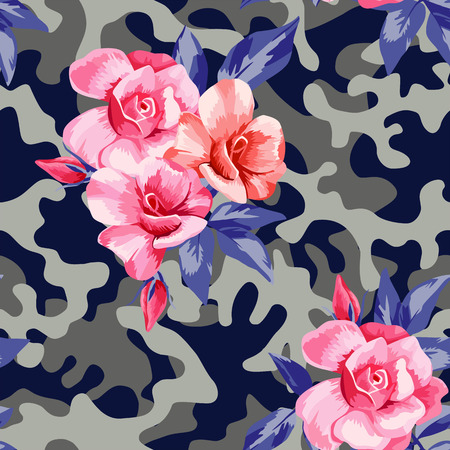 Trendy camo military urban seamless pattern with beautiful flower pink rose.