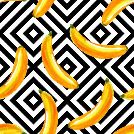 이국적인 열 대 과일 바나나 음식의 컴포지션 흑인과 백인 기하학적 배경 사각형에 손으로 그려진 된 수채화.