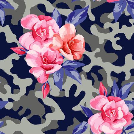 ピンクの美しい花とトレンディな迷彩軍事都市のシームレスなパターンが上昇しました。