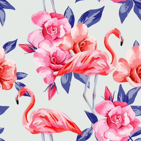 로즈와 핑크 플라밍고의 아름 다운 컴포지션 손으로 그려진 된 수채화. 일러스트