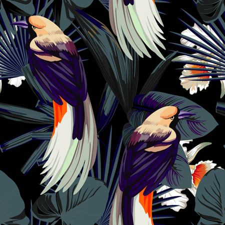 Tropical animal bird, flower orchids and plants. Fashion night style jungle pattern seamless background