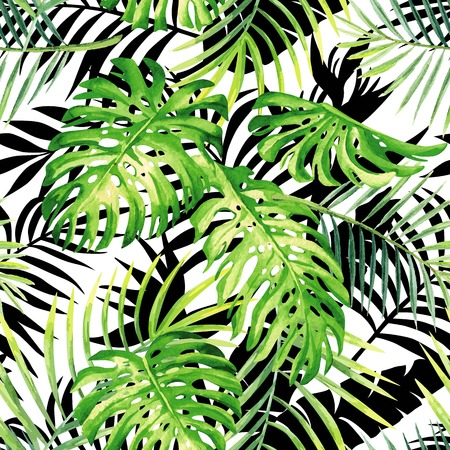 Hand drawn tropical plants watercolor seamless pattern monster leaf and palm, black and white leaves silhouette background