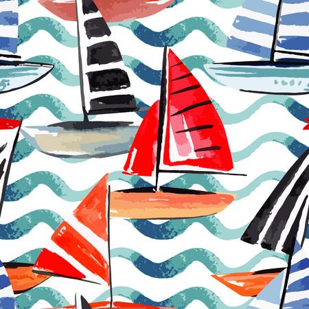 Hand drawn watercolor sail boat, sea waves.
