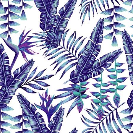 熱帯の花のシームレスなパターンは、バナナ シュロのトレンディなブルー スタイルの葉の壁紙夏植物を印刷します。