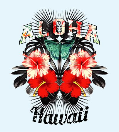 Slogan aloha hawaii illustrated black and white tropical leaves, red and pink hibiscus flowers and butterfly hand drawn watercolor in a trendy mirror style. Illustration