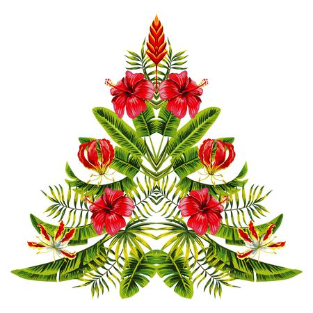 painting christmas tree in hawaii mirror style hand drawn of tropical hibiscus flowers and palm banana leaves.