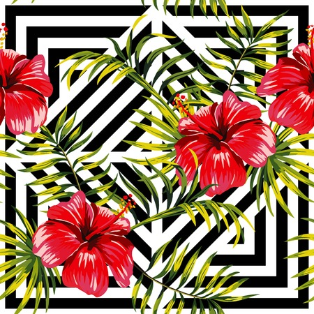 green flowers: Painting floral paradise hand drawn tropic hibiscus flower with palm leaves on a black and white geometric background seamless pattern