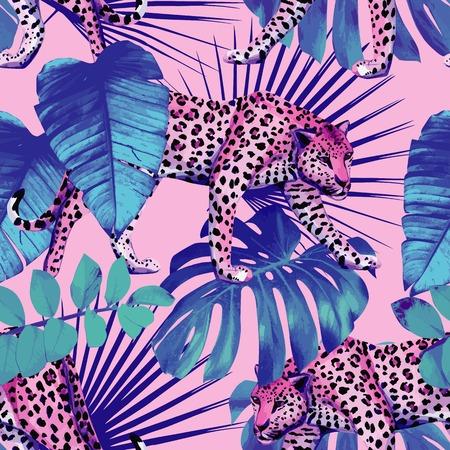 ピンクの背景に青のトレンディなスタイルでヒョウ柄のシームレスな絵画壁紙植物ハワイ熱帯夏シュロの葉します。