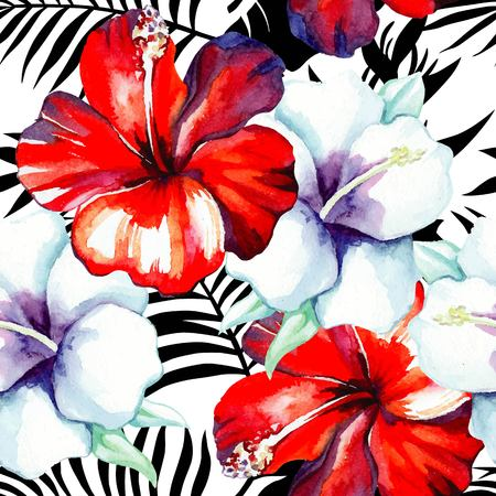 Tropic flowers red and white hibiscus painting  watercolor. Exotic floral  hawaiian seamless pattern on black and white background of tropical leaves