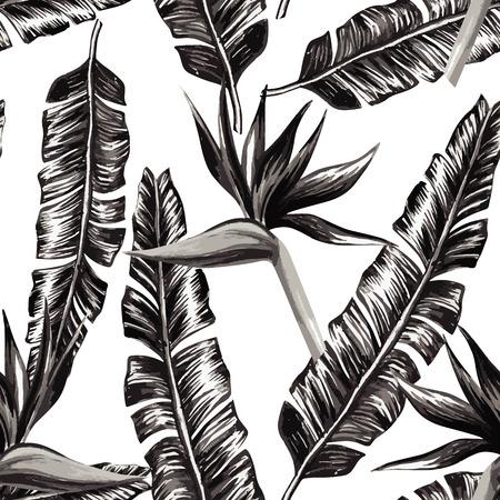Strelitzia en bananenbladeren zwart en wit naadloze patroon achtergrond