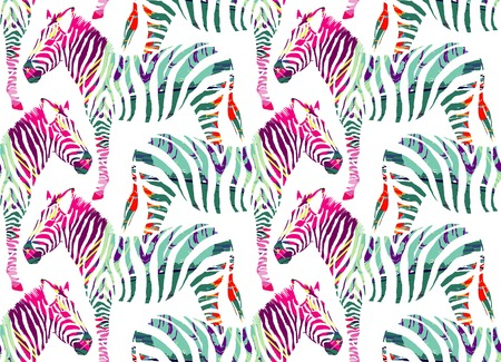 Painting drawn animal multicolor zebra on a white background. Fashion art jungle safari print seamless pattern Иллюстрация