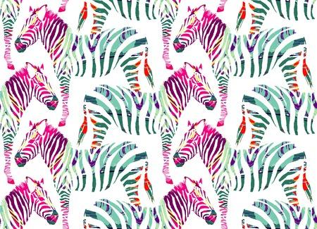 Painting drawn animal multicolor zebra on a white background. Fashion art jungle safari print seamless pattern Vettoriali