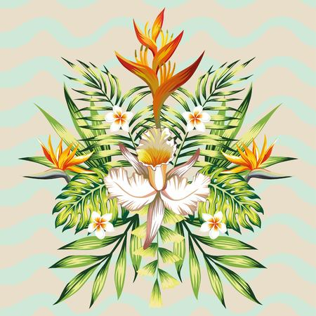 birds of paradise: Fashion wallpaper mirror composition of tropical flowers frangipani, lotus, bird of paradise, Strelitzia, leaves banana palms and plants on the background of wavy gray mint color Illustration