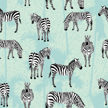 Set of zebra blue palm background pattern seamless
