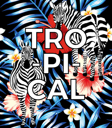 zebra hibiscus red palm leaves blue tropical pattern slogan tropical