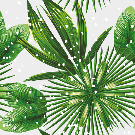 Print exotic jungle plant tropical palm leaves. Pattern, seamless floral on the snow christmas background. Nature xmas wallpaper.