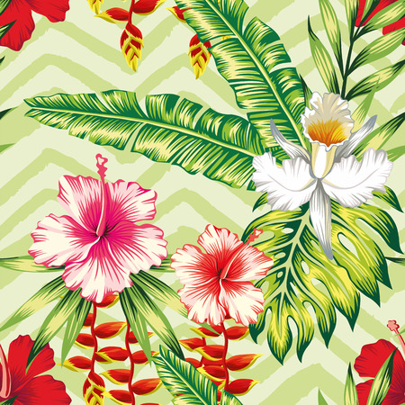 Tropical banana palm leaves and flowers red pink hibiscus white orchid seamless pattern on geometric background