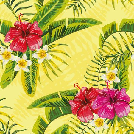 exotic fruit: Tropical banana palm leaves and flowers hibiscus plumeria seamless pattern on yellow background