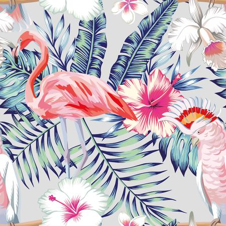 Tropical bird pink flamingo and parrot macaw banana palm leaves in trendy blue style and flowers hibiscus, frangipani, orchid. Seamless pattern