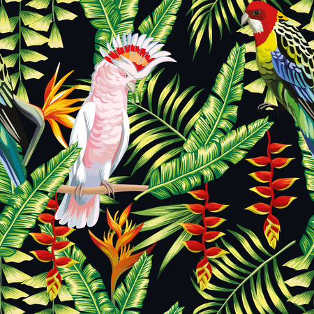 Tropic bird macaw and multicolor parrot on the background exotic lobster claws flower, strelitzia and palm leaf. Print summer floral plant. Nature animals wallpaper. Seamless pattern