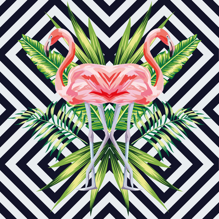 bird pink flamingo with tropical banana leaves in mirror image style on geometric background. jungle floral wallpaper