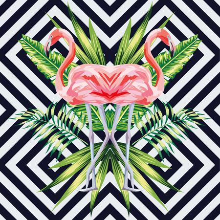Vogelrosa Flamingo mit tropischen Bananenblättern im Spiegelbildstil auf geometrischem Hintergrund. Dschungel Blumentapete