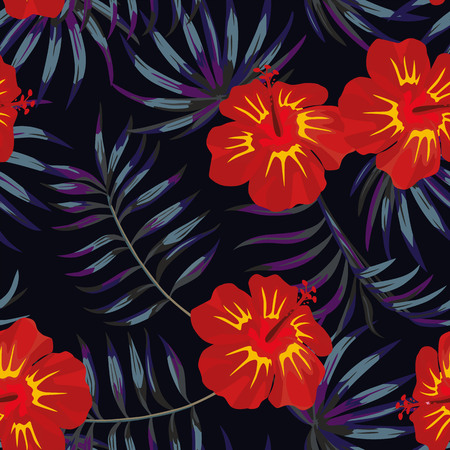 Tropic summer red hibiscus flower with tropical leaves in the jungle at night. seamless pattern