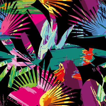 Print summer exotic jungle plant tropical palm leaves. Pattern, seamless paint on the black background. Nature wallpaper done with clipping mask