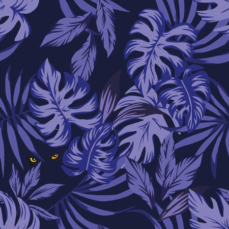 Nightlife jungle tropical leaves seamless pattern with eyes panther in the night sky Illustration