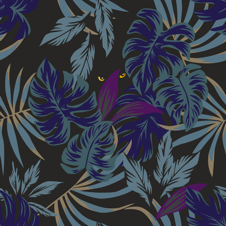 Nightlife jungle rainforest tropical leaves seamless pattern with eyes panther in the middle in the night sky Illustration