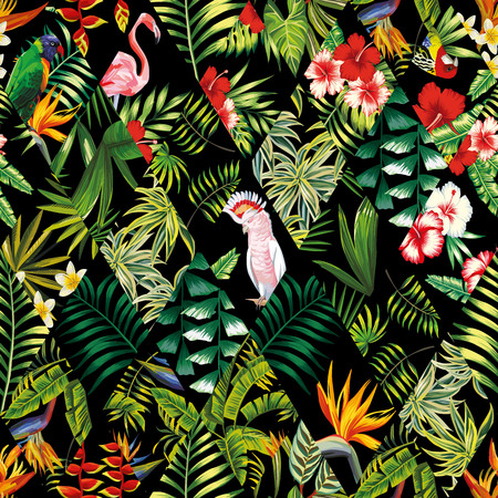 Exotic beach trendy seamless pattern, patchwork illustrated floral tropical banana leaves, hibiscus flower, lilies, plumeria. Jungle parrots and pink flamingos Wallpaper print black background