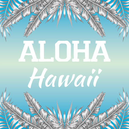 Mirrored trendy black white style illustration of tropic exotic plant palm banana leaves slogan Aloha Hawaii, vector on a blue background Illustration