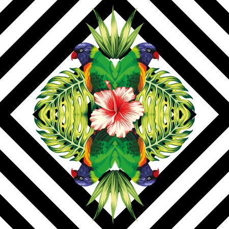 Tropische vogel papegaai, planten en hibiscus bloem in de trendy spiegel stijl op een zwarte en witte geometrische achtergrond vector patroon