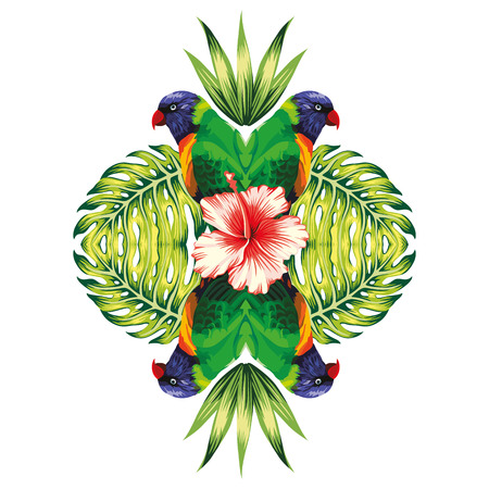 Tropical bird parrot, plants and hibiscus flower in the trendy mirror style on white background vector pattern 向量圖像