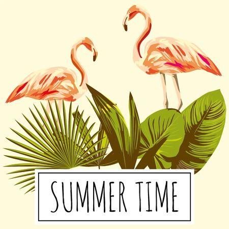 Slogan summer time tropical green leaves and pink flamingo bird retro, vintage style. Trendy wallpaper Illustration