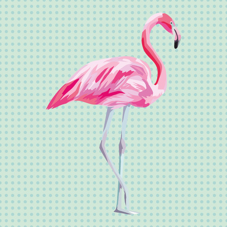 Beautiful isolated pink flamingo. Vector illustration on a aqua mint background