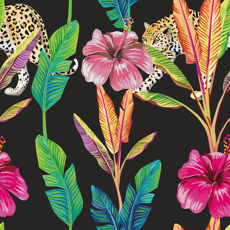 Composition of the tropical green banana leaves, red hibiscus flower, wild animal leopard black background. Seamless wallpaper pattern
