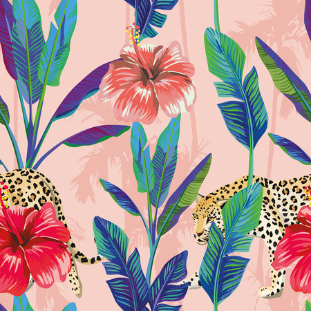 Composition of the tropical green banana leaves, red hibiscus flower, wild animal leopard, pink palm background. Seamless wallpaper pattern Stock Illustratie