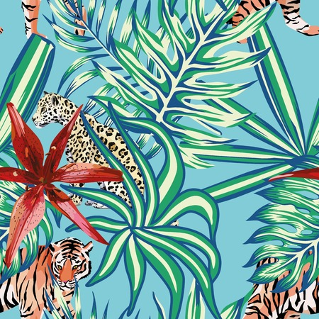 tiger lily: Composition of tropical leaf beautiful flower lily wild animals leopard and tiger. Seamless wallpaper pattern on a blue background Illustration