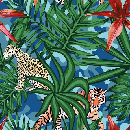 tiger lily: Composition of tropical leaf beautiful flower lily wild animals leopard and tiger. Seamless wallpaper pattern on a camo background Illustration